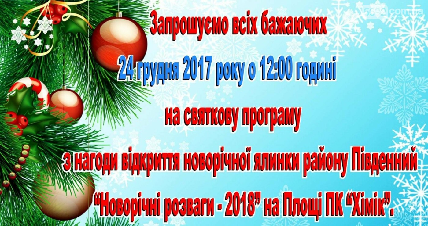 Каменчан приглашают на открытие новогодней елки Южного района, фото-1