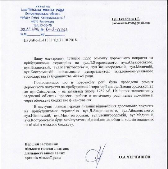 «Бюджетные ограничения»: чиновники Каменского ответили на петицию о ремонте тротуаров, фото-1