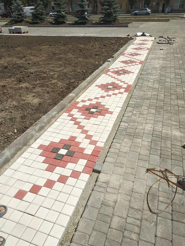 В центре Каменского будет красоваться плитка в стиле вышиванки, фото-2
