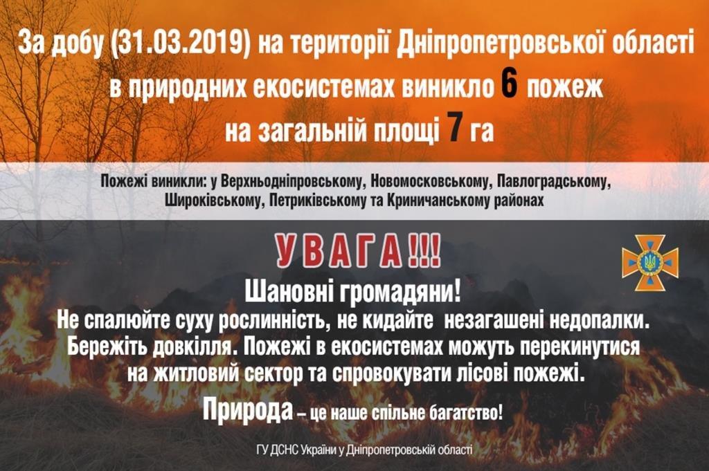 На Днепропетровщине за сутки возникло 6 пожаров на площади 7 гектаров, фото-1