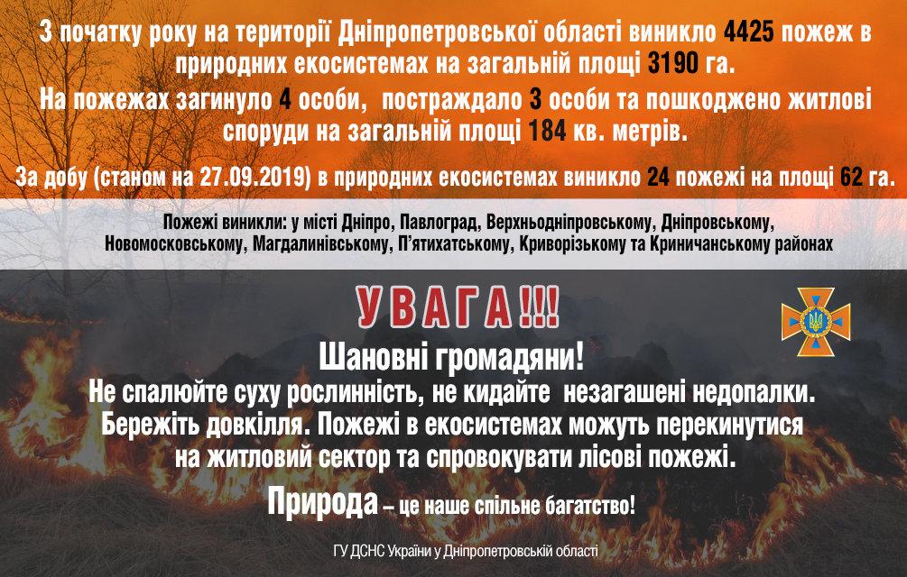 За сутки на Днепропетровщине выгорело 62 гектара экосистемы, фото-1