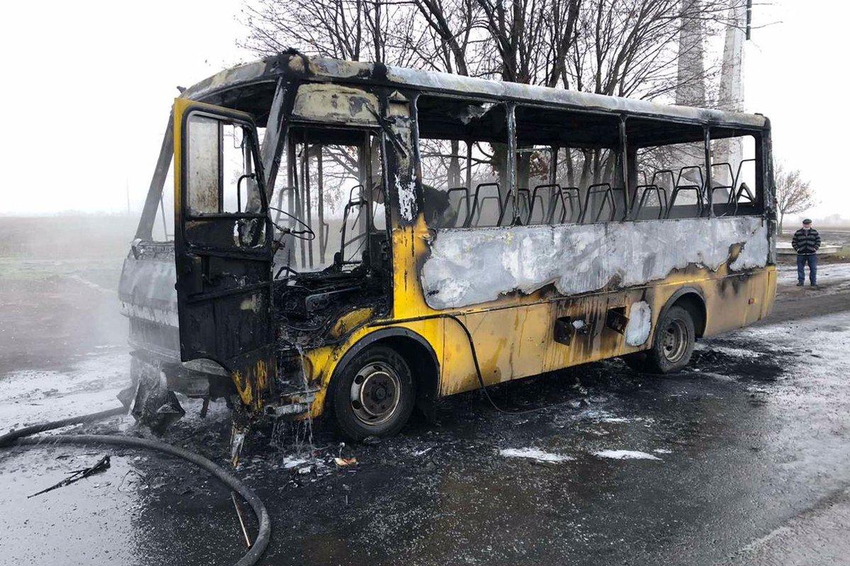 Под Каменским горел автобус, фото-1