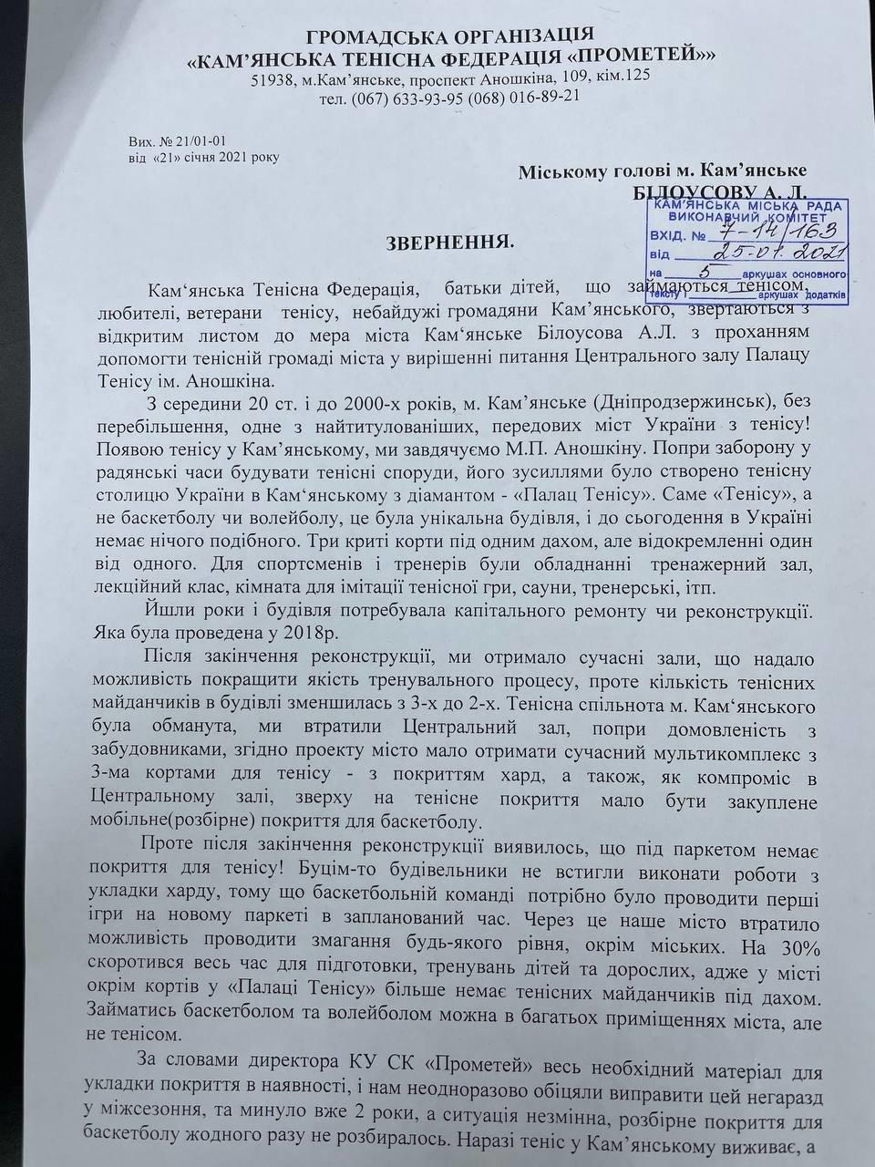 Теннисисты Каменского просят мэра о помощи, фото-1